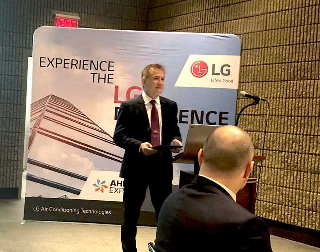Carl Barnard, director, controls sales, spoke at the LG Electronics press breakfast. - The ACHR News