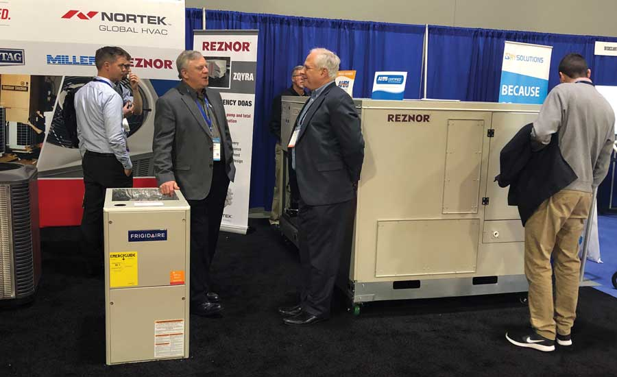 The R7DA combination DOAS and conventional space conditioning RTU under the Reznor brand took the most space and the most attention at this year's AHR booth. - The ACHR News