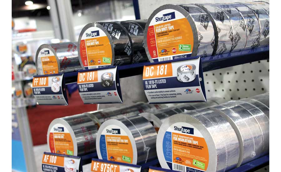 Shurtape's booth included a wide variety of tapes as well as merchandisers designed to display them. - The ACHR News