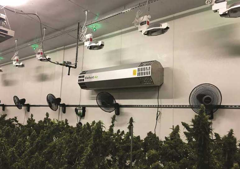 The Element Air Tower, a PHI cell technology specifically built for grow facilities, can be free standing or wall mounted. - The ACHR News