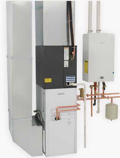 The Bosch Hydronic Air Handler, shown here with the Bosch Greentherm Gas Condensing Tankless Water Heater. - The ACHR News