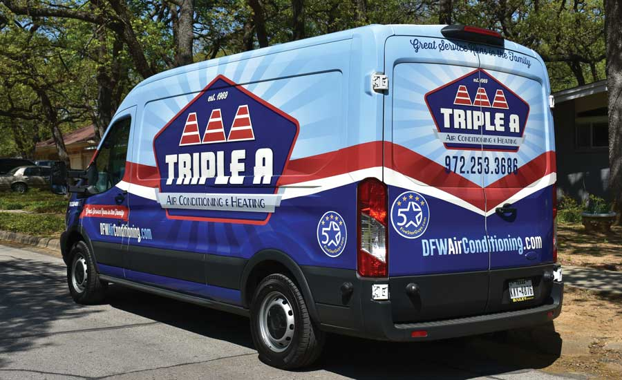 Service vehicle from Triple A Heating & Air Conditioning in Flower Mound, Texas. - The ACHR News