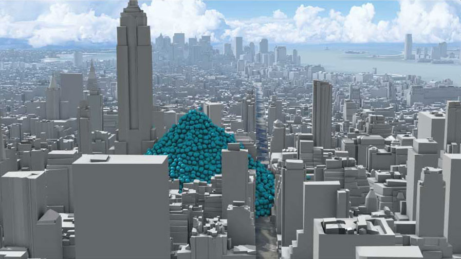 THE EMISSIONS BLUES: Based on 2010 data, the spheres piled up in this portrayal represent one hour of CO2 emissions in New York City, with each sphere representing one ton. Emissions for that year totaled 54 million metric tons of CO2. - The ACHR News