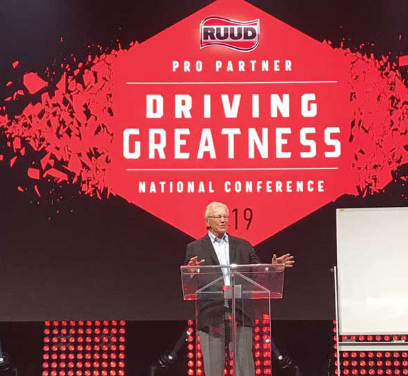 Legendary NFL coach Joe Gibbs entertained the Ruud and Rheem audiences. - The ACHR News