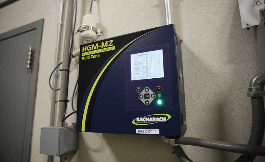 The charcoal filter and detection point are shown beside the HGM-MZ refrigerant monitor. - The ACHR News