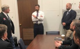 Rep. Markwayne Mullin of Oklahoma talks with ACCA's Todd Washam and others in a meeting about opioid addiction and related issues. - The ACHR News