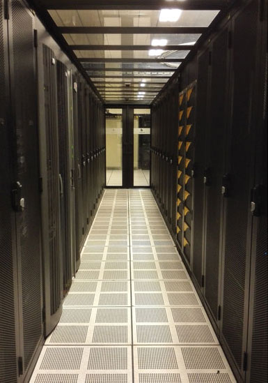 Data center with a raised floor design.
