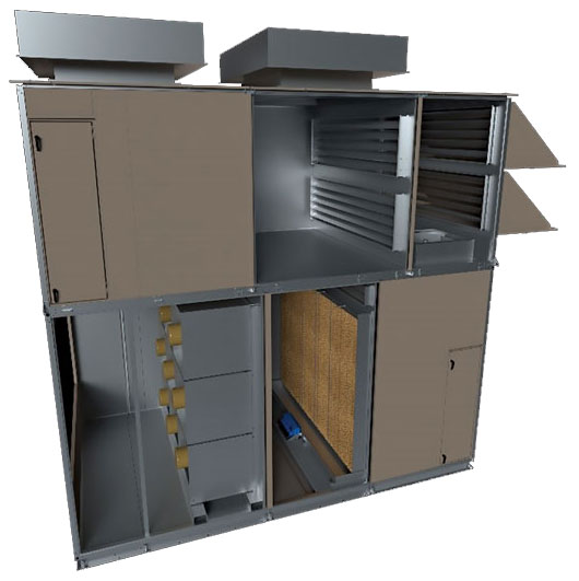 The YORK Mission Critical Direct Evaporative Cooling (DEC) Air Handling Unit (AHU).
