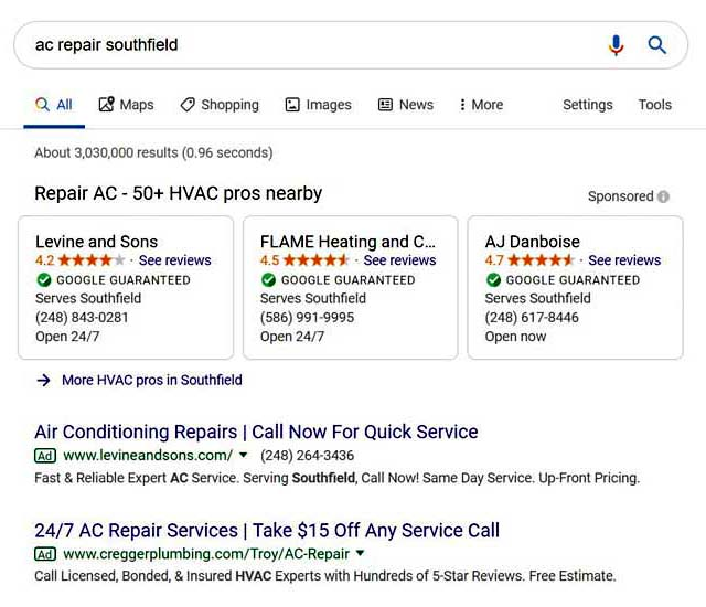 Google Local Services search results.