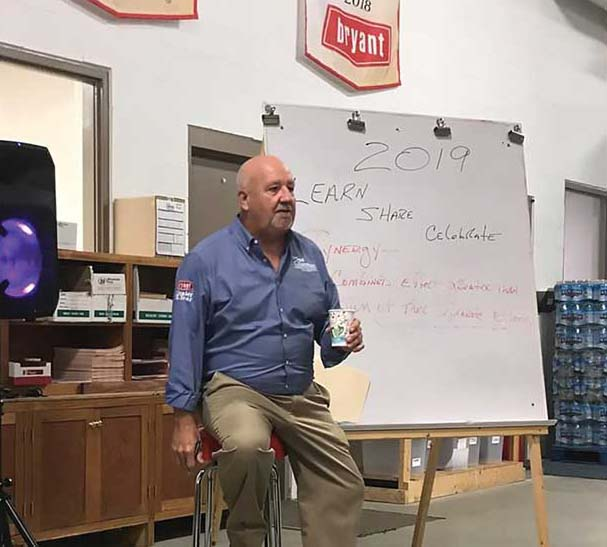 Jeffrey Chapman, president of Chapman Heating and Air Conditioning in Indianapolis, shares techniques for upselling customers with employees at his company.
