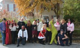 The staff at Oliver Heating, Cooling, Plumbing, Electrical in Morton, Pennsylvania, dress up in work-appropriate Halloween costumes.