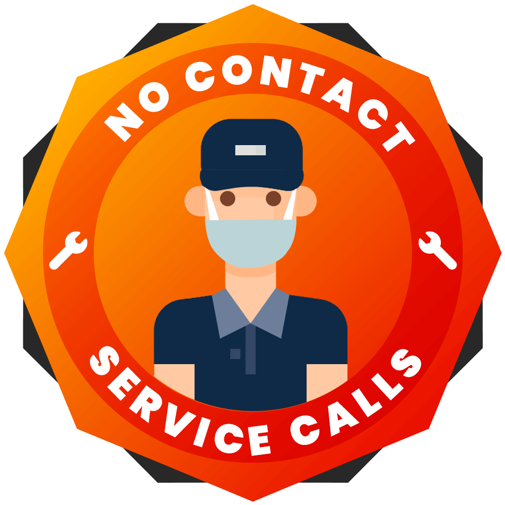 This logo on a contractor's website lets customers know they can receive a service call while maintaining distance.