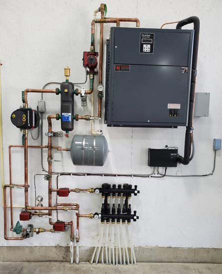 This is a 1 to 5 ton NorAire air-to-water heat pump system.