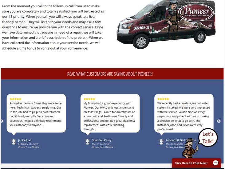 Pioneer Heating and Air Conditioning uses its mascot — a cartoon character with a racoon cap — as a chat avatar..