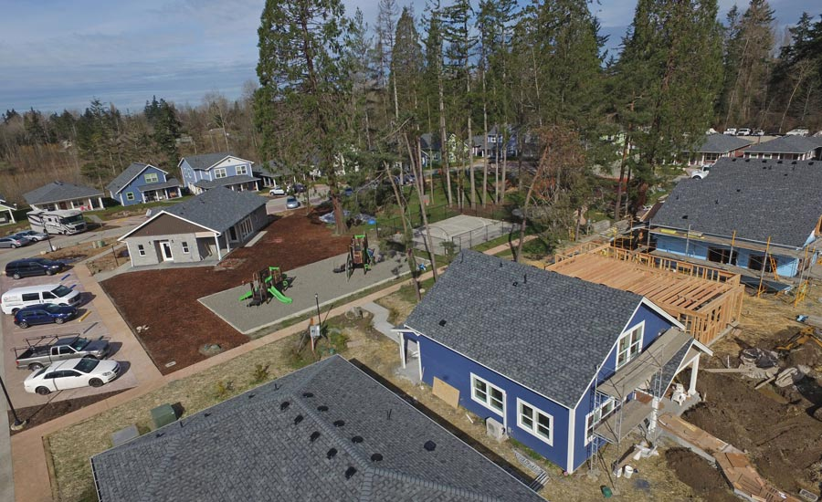 20 Habitat for Humanity homes in The Woods at Golden Given in Midland, Washington.