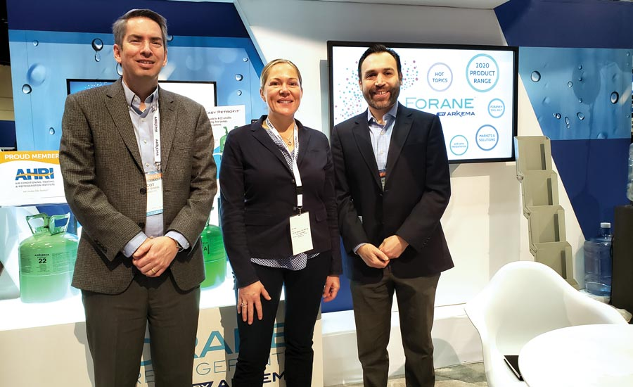 From left to right, Scot Swan, Katy Trosini, and René Molina were ready to answer all refrigerant-related questions at the Arkema booth.