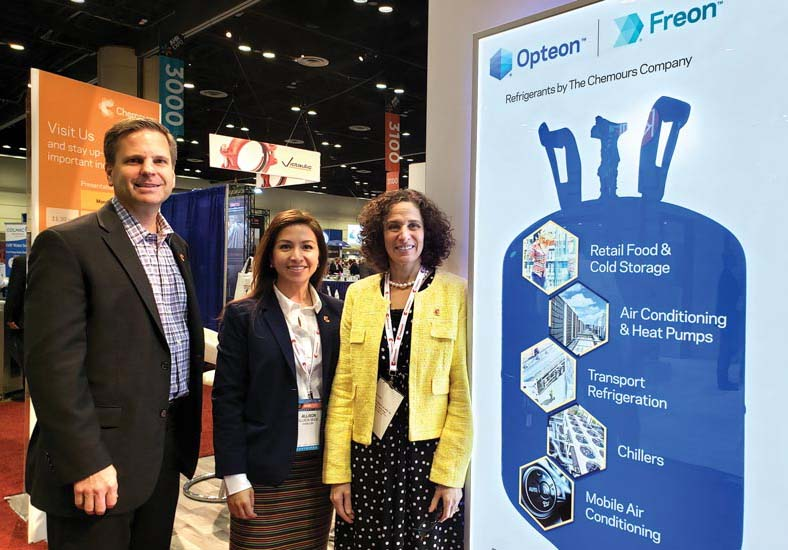 From left to right, Joe Martinko, Allison Skidd, and Esther Rosenberg, manned the Chemours booth, answering questions concerning new refrigerants as well as U.S. HFC regulations.
