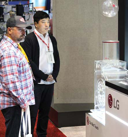 Attendees at the AHR Expo get a simple illustration of how LG moves air.