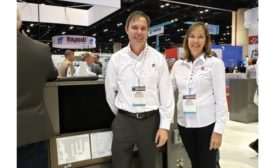 Heath Owens and Becky Kelly were happy to discuss Rheem's new commercial and residential products on the show floor.