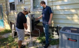 Alex Peterson, 911 Heating & Air owner (right), has found success in sharing info with customers in simple, understandable terms.