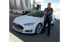 Elon Musk and a Tesla.