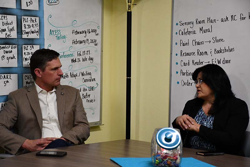 Senator Martin Heinrich of New Mexico, seen here meeting in February with Las Cruces Public Schools Superintendent Dr. Karen Trujillo.