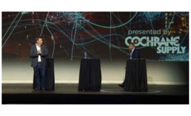 Scott Cochrane, president and CEO of Cochrane Supply, (left), and Jim Young, founder and CEO, Realcomm (right).
