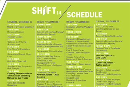 Shift 14 schedule