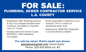 FOR SALE: PLUMBING, SEWER CONTRACTOR SERVICE - L.A. COUNTY