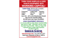 TURN YOUR SURPLUS & USED HVACR EQUIPMENT INTO WORKING CAPITAL!