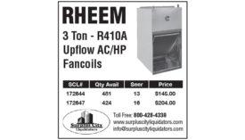 RHEEM 3 TON - R410A UPFLOW AC/HP FANCOILS