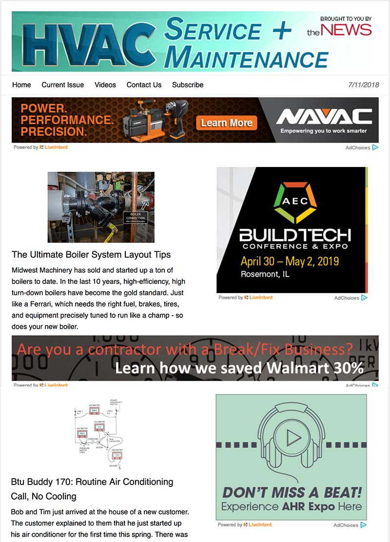 HVAC Service and Maintenance newsletter.